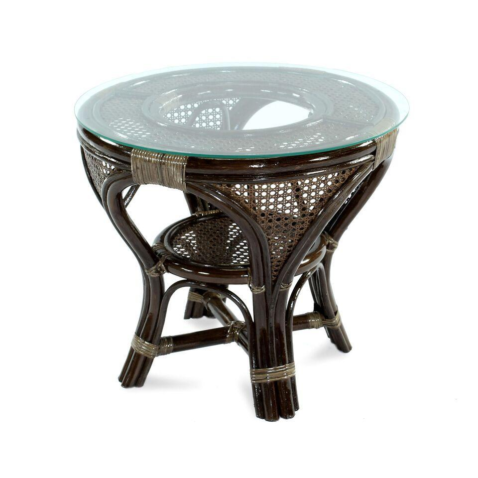 Стол плетеный со стеклом кофейный Mokko S-A