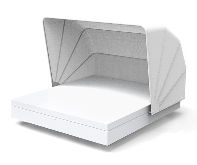 Лежак пластиковый с козырьком Vela Basic square with folding sunroof