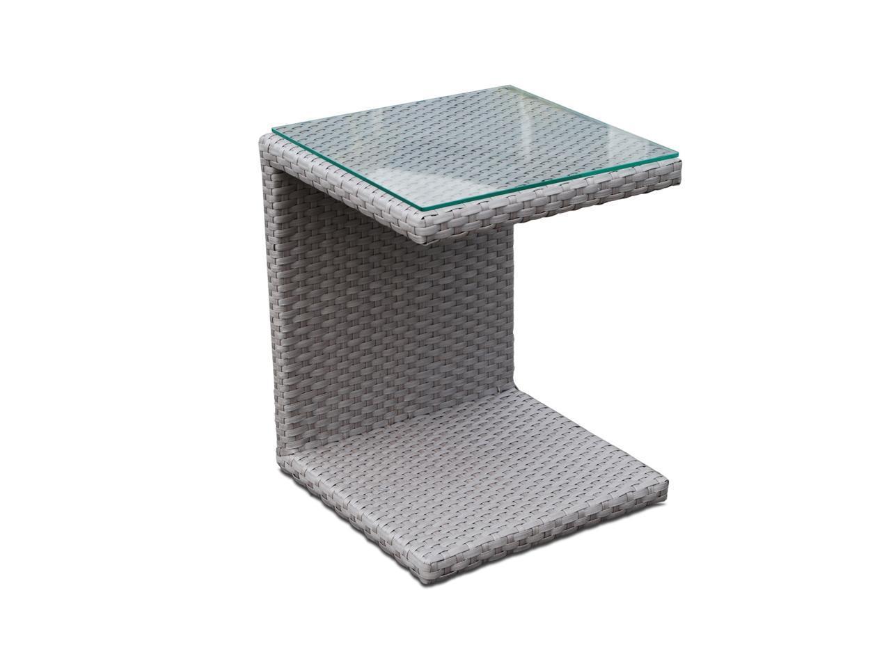 Стол плетеный со стеклом для лежака Miha