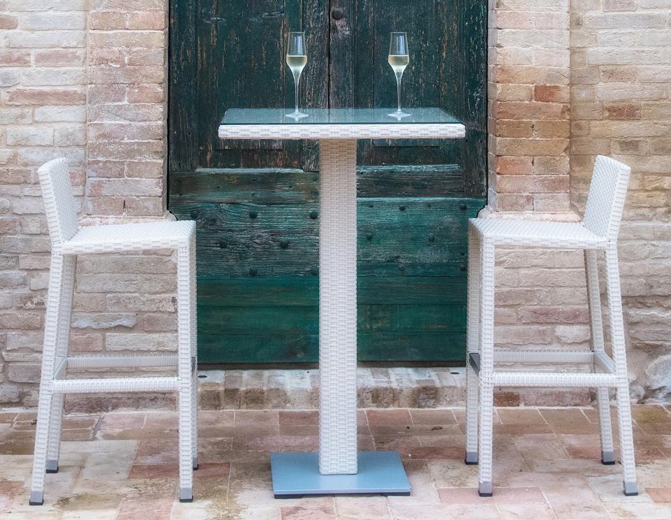 Cтол плетеный ,барный со стеклом Spritz