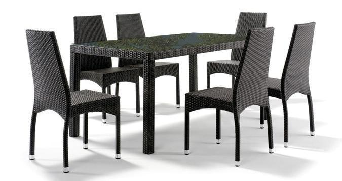 Стол плетеный со стеклом GT 990