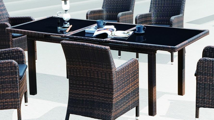 Стол плетеный со стеклом раздвижной Mykonos