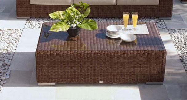 Стол плетеный со стеклом журнальный Cuatro