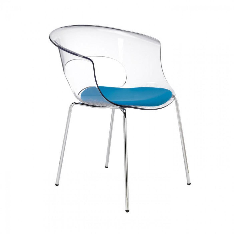 Кресло прозрачное с подушкой Miss B Antishock 4 legs with cushion