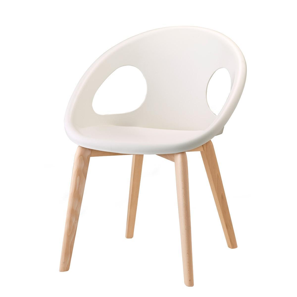 Кресло пластиковое Natural Drop solid wood frame