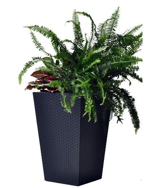 Пластиковое кашпо Rattan Planter L, 144.8 л, антрацит, 530х530х730 мм, Keter, Flowerpots, Израиль