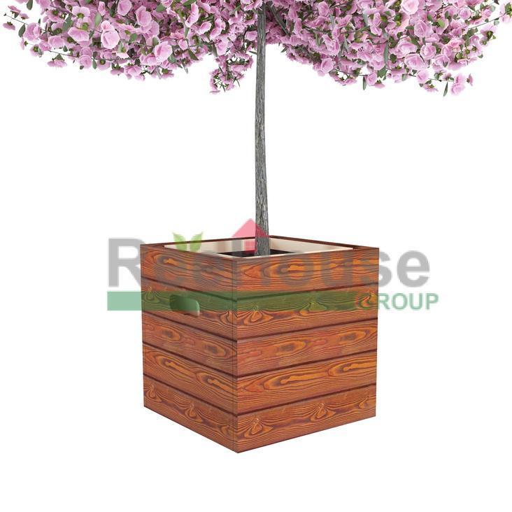 Деревянное квадратное кашпо