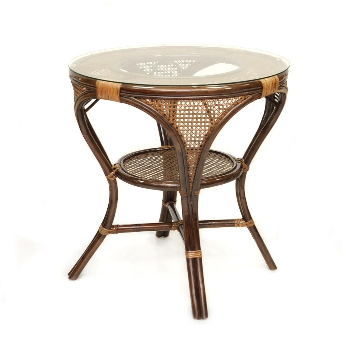 Стол плетеный со стеклом обеденный Mokko L-A